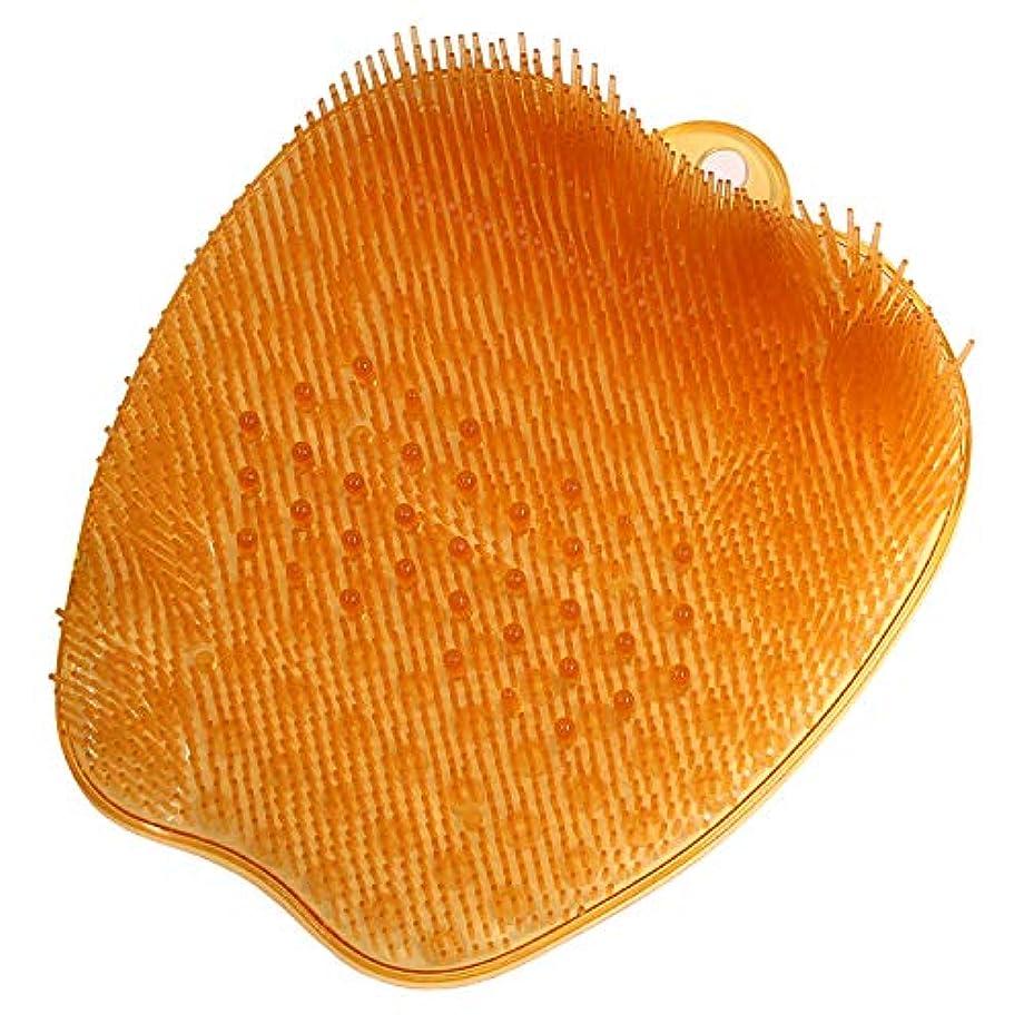 ファブリックエンドテーブル出くわす足洗いマット足洗い用 バスマット フットブラシ 足裏あらいマット 浴室 汚れ角質除去 ストレス解消 オレンジ 26*24*4cm