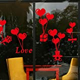 Kicode 窓の壁のベッドルーム バルーンギフト ハート・シェイプ・ラブ ビニール カップルデコレーション デカール バレンタイン・デー