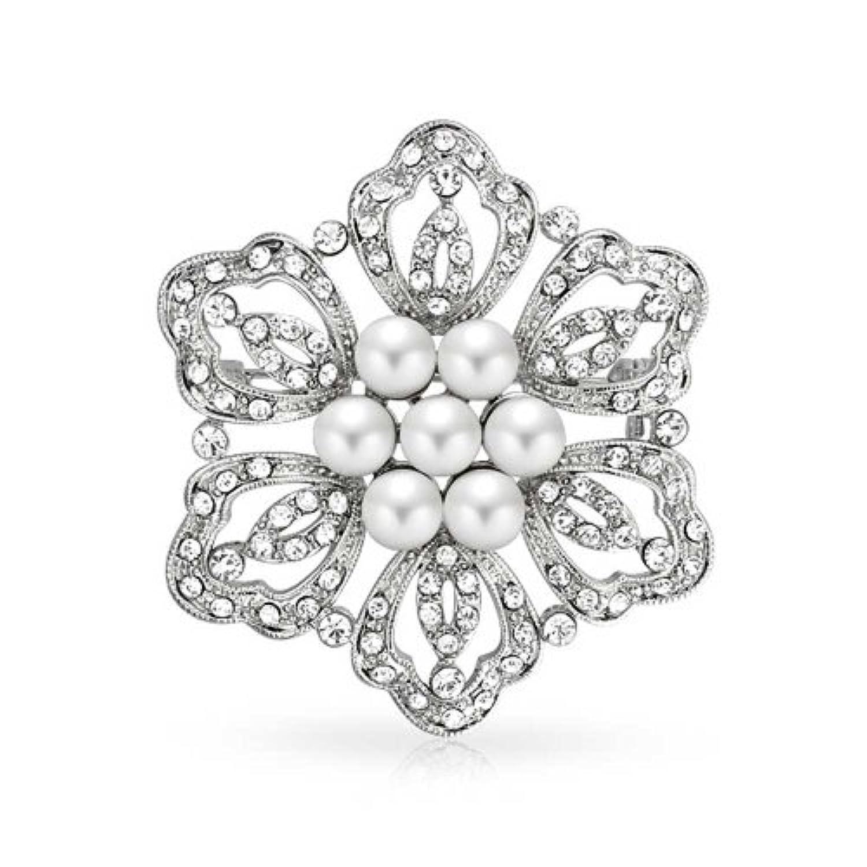 ブリングジュエリー ホワイトパールフラワーピン無色水晶花嫁結婚式のブローチ