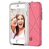 Kemier iPhone7 ケース アイフォン 7用 バッテリー内臓ケース 急速充電 ケース型バッテリー 自撮りライト付き おしゃれ 高級感 セルフィー 調光可能 耐衝撃 保護カバー(ピンク)