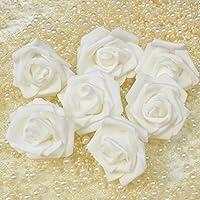 Wassby(TM)結婚式の装飾EVA発泡DIYホームデコレーションシミュレーションバラヘッドD65のために30PCSカラフルな造花ローズ