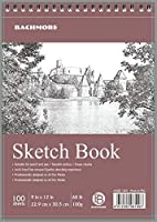 Bachmore 200 Sheets Sketchpad Top Spiral, 9X12 Inch (68 pounds/100gram), Sketch Book For Artist Pro and Amateurs Marker Art, Colored Pencil, Charcoal For Sketching (2 Packs) [並行輸入品]