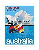 オーストラリア - オペラシドニー - アメリカン航空 - ビンテージな航空会社のポスター c.1969 - アートポスター - 28cm x 36cm