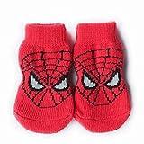 靴下 ソックス すべり止 肉球保護 犬用 1足分4個セット スパイダーマン Lサイズ