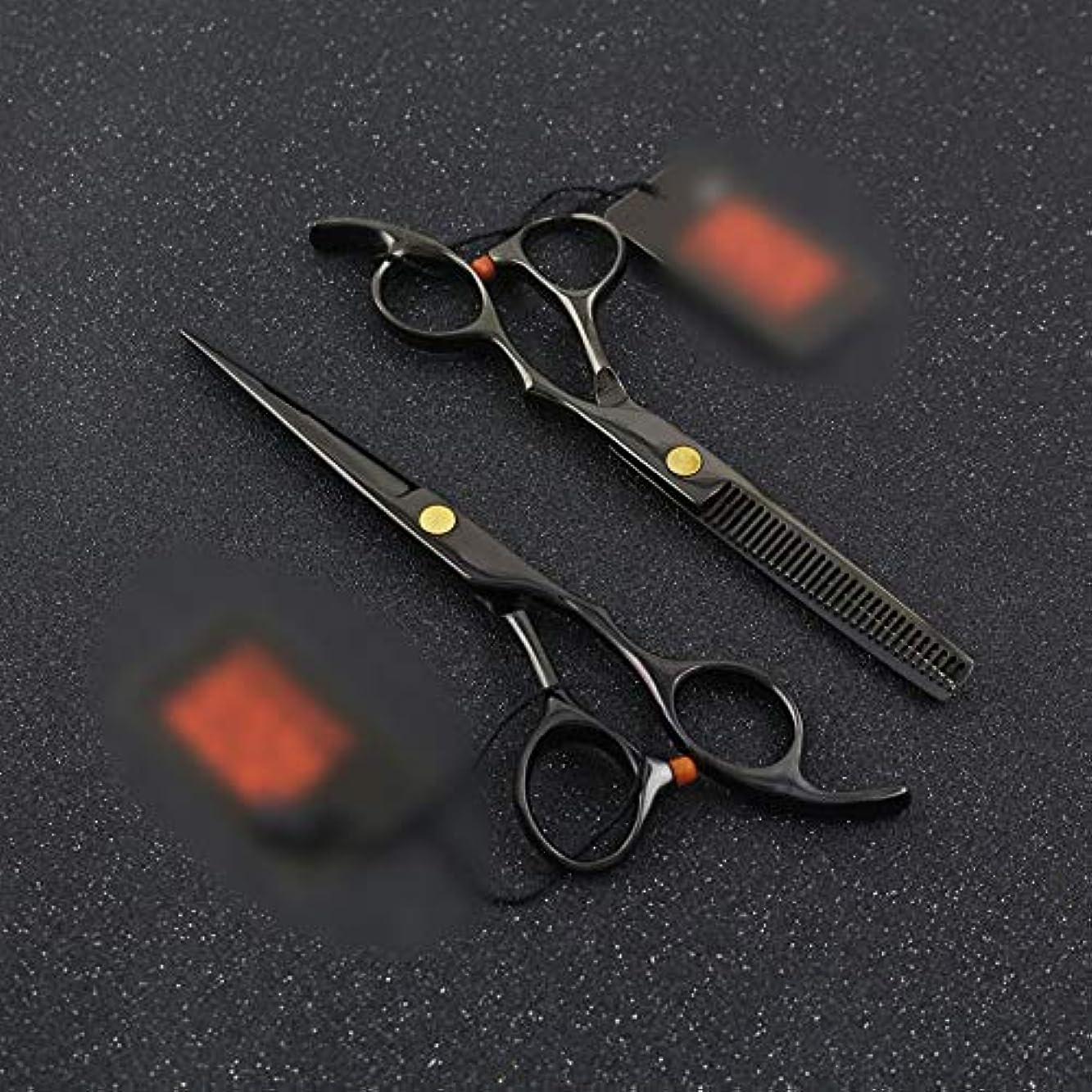 致命的不従順立ち寄るWASAIO はさみ風味シザー+歯せん断理髪ツールセット6インチブラック間伐テクスチャーサロンヘアカットのはさみプロフェッショナル理容正規レイザーエッジ (色 : 黒)