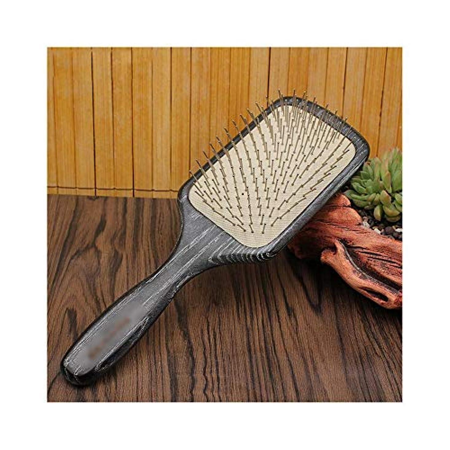 札入れすみません難破船WASAIO ヘアブラシ木製の手作りの頭皮マッサージエアクッションヘアコームリラックスとスタイリング帯電防止ブラシ (色 : Square)