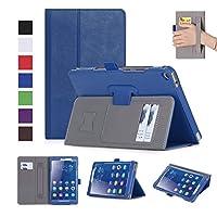 【E-COAST】HUAWEI MediaPad T3 8.0専用ケース 保護カバー PUレザー スタンド機能付 カードポケット付 microSDカードスロット収納 ハンドストラップ付 色選択可能 液晶フィルム付 (ブルー)