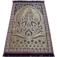 お祈りマット トルコ製 ムスリム礼拝用マット 礼拝用敷物(A) (紫)