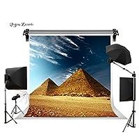 Gesenテーマ写真バックドロップ10x 10ftエジプトピラミッドの下でブルースカイと白雲カスタマイズ背景背景幕スタジオ小道具gesen006
