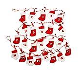 One Hundred 80度レッド&ホワイト再利用可能なフェルトクリスマスAdvent 24日カレンダーガーランド装飾