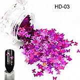 1ピース新しい爪輝く蝶の形ミックス色美容ジェルネイルアートチャームミニパレット小型サイズスパンコール装飾SAHD01-05 HD03