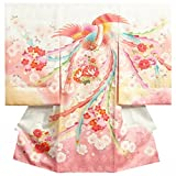 お宮参り 着物 女の子 正絹初着 白色裾ピンク染め分け 刺繍鳳凰 桜梅牡丹 金彩使い サヤ地紋生地 日本製