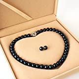 One&Only Jewellery 大粒 10-11mm 黒真珠 フォーマル 2点セット ネックレス & イヤリング or ピアス 専用ケース付 (ピアス)