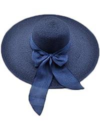 BJHG ORIGINALS Womens UPF50 Big Bowknot Straw Hats Summer Sun Beach Straw Cap accessories Wide Brim Sun Hat