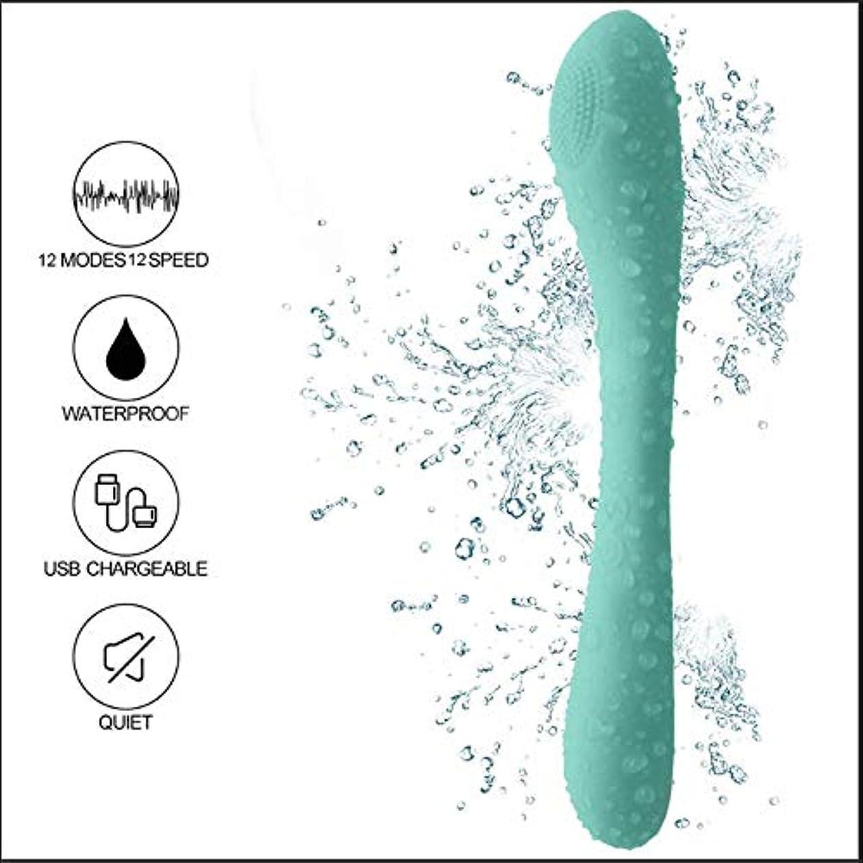 ツイン士気名前でハンディマッサージャー 加热 小型 静音 12種強力振動パタン IPX6防水 USB充電式 肌触りが良い(緑色)