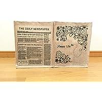 Love Bridge 麻 収納ボックス Happy Life & THE DAIRY NEWSPAPER 2個セット 花柄ストッカー 英字ストッカー ジュート