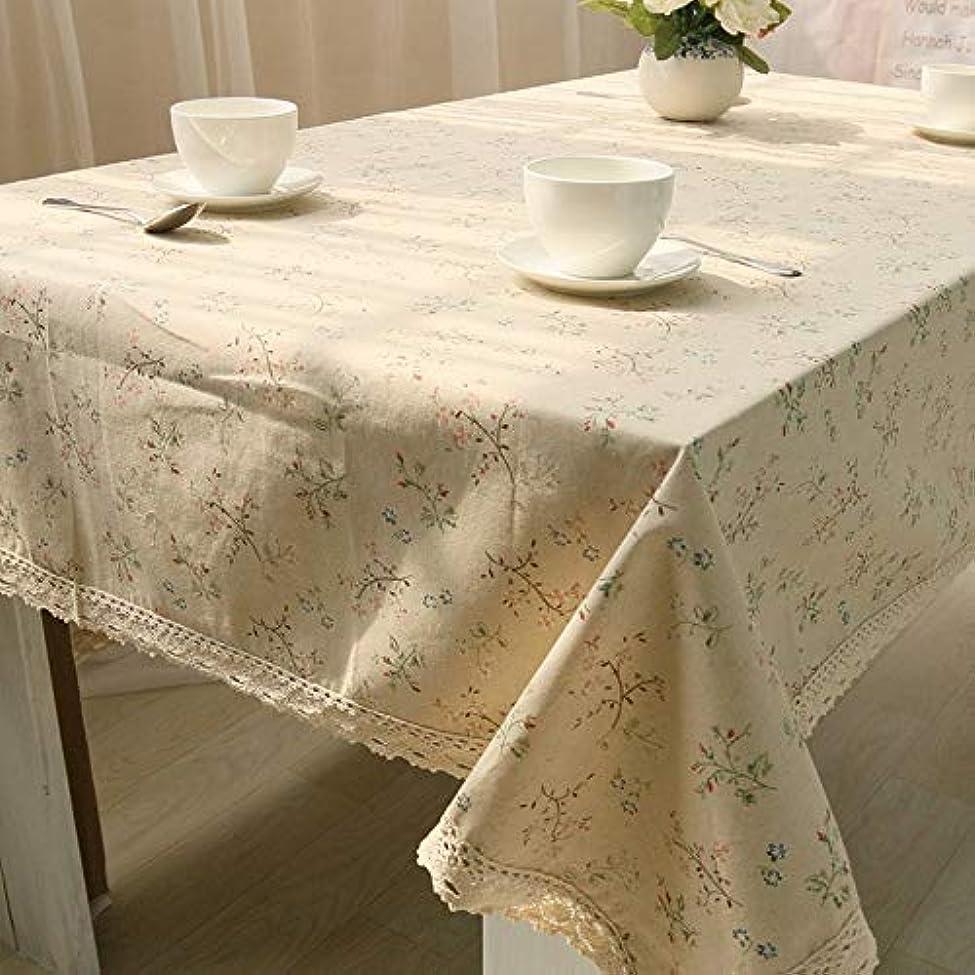 チラチラする放つの間でテーブルクロス 家庭用レストラン、小さな新鮮な花の生意気なテーブルクロスカバータオルテーブルクロス綿と麻 (Color : White, Size : 90*90)