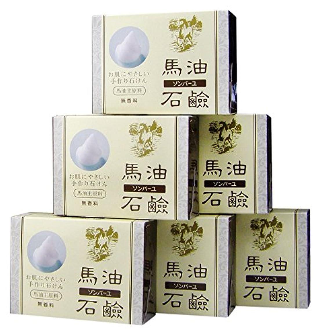 申し立てられた予測するリボンソンバーユ馬油石鹸(無香料)6個入(85g×6)