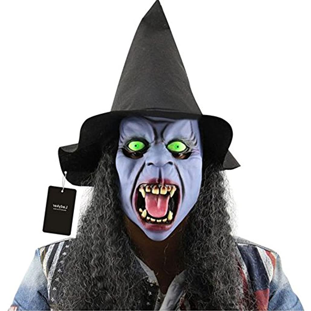 いじめっ子魅惑する人工的なAuntwhale ハロウィーンマスク大人恐怖コスチューム、ホラー夜の魔女ファンシーマスカレードパーティハロウィンマスク、フェスティバル通気性ギフトヘッドマスク