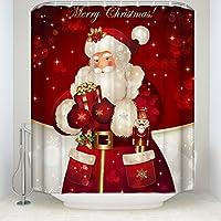 シャワーカーテン 浴室 間仕切り 防水 防カビ リング付属 風呂用 目隠し バスカーテン 120x180cm Merry Christmas