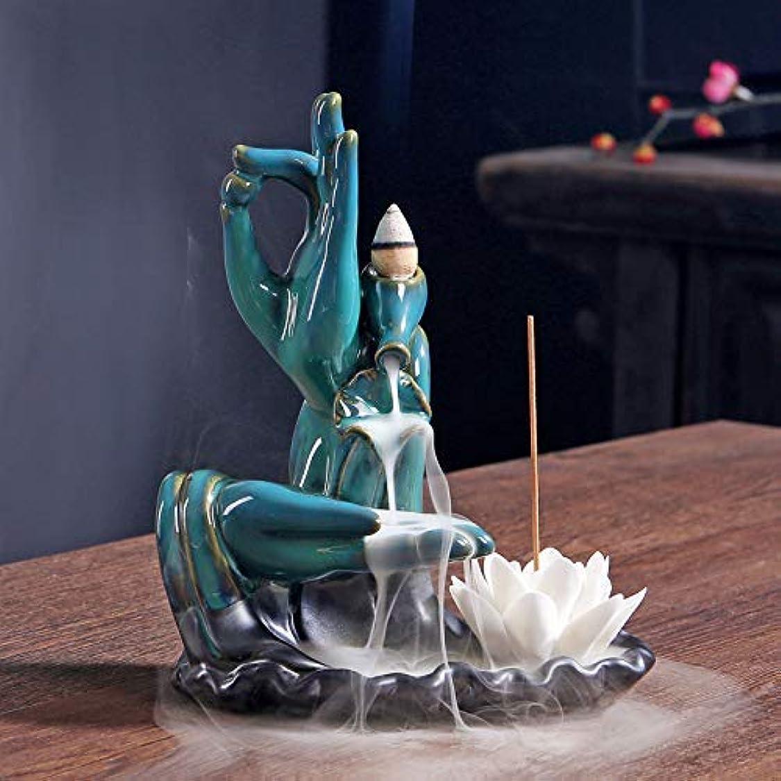 小道具メッシュカフェPHILOGOD blue Buddha hand backflow incense holder ceramics incense cone stick burner Creative Home Decoration...
