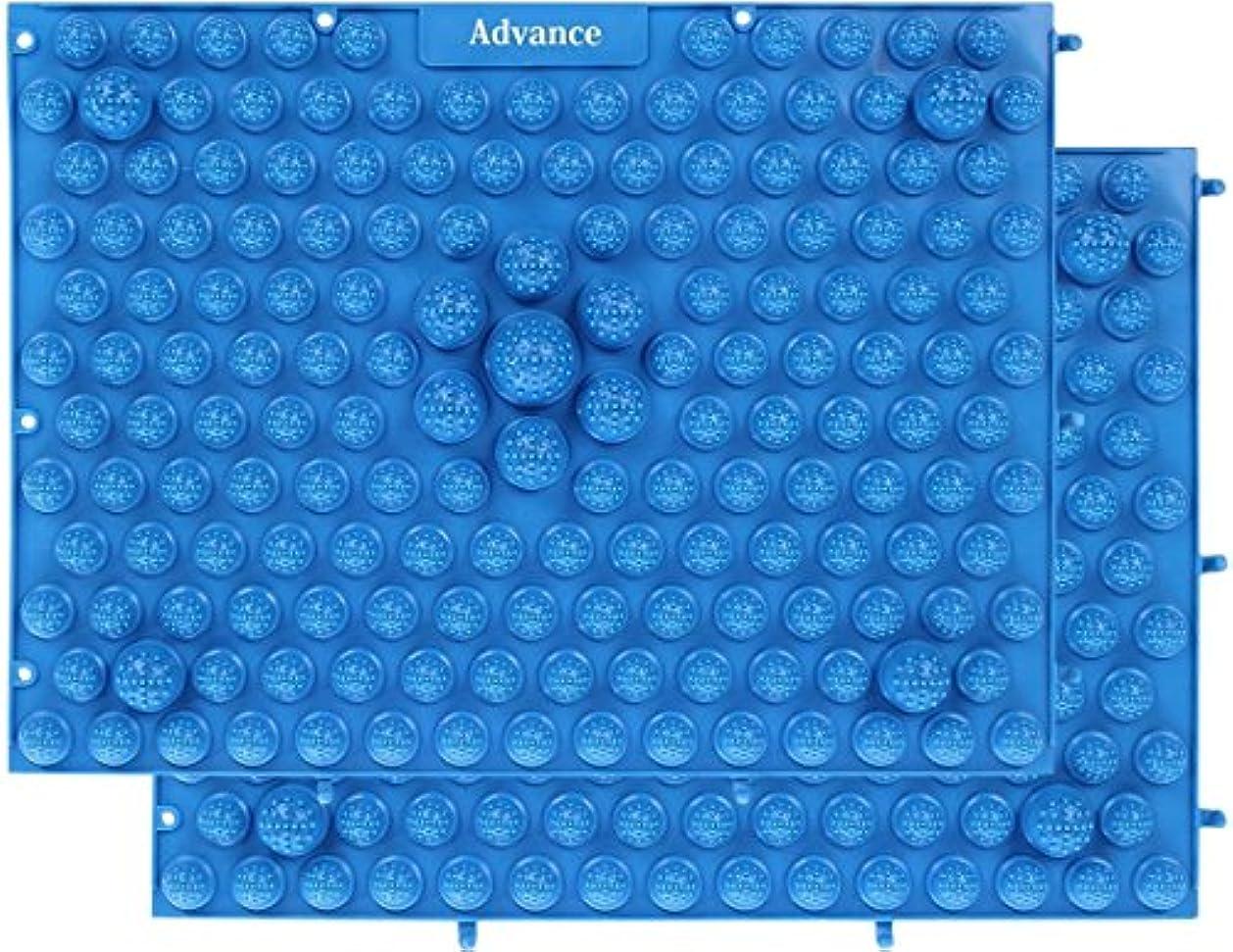 切り下げダイヤル絡み合い[OneStepAdvance] 足つぼ健康マット 足踏みマッサージ 37×27cm 2枚セット (ブルー)