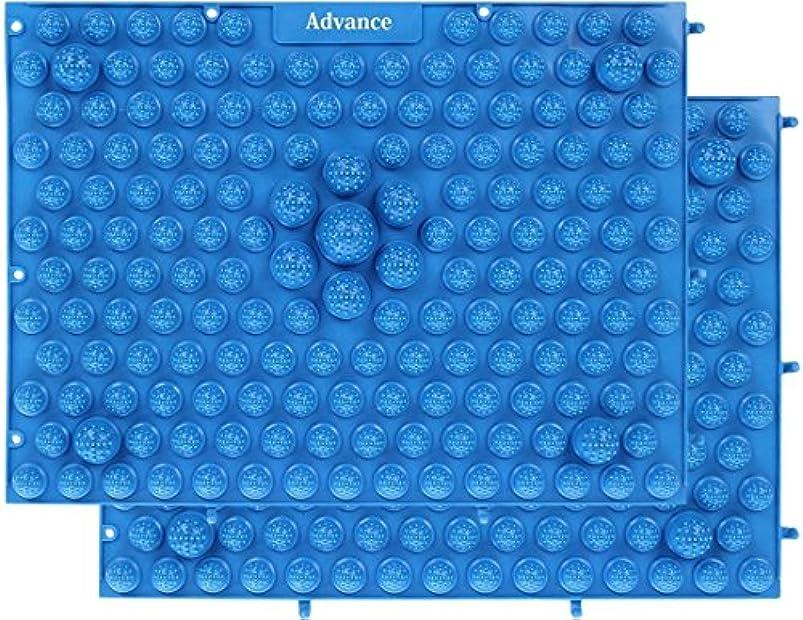 韓国十分素晴らしいです[OneStepAdvance] 足つぼ健康マット 足踏みマッサージ 37×27cm 2枚セット (ブルー)