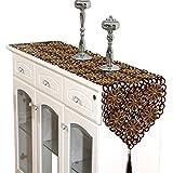 (ビグッド) Bigood テーブルランナー タッセル付き 優雅 レース 刺繍 花柄 テーブルセンター 食卓飾り インテリア 装飾(コーヒー?40 * 150cm)