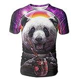 パンダの宇宙飛行士 メンズ 丸首 Tシャツ 半袖 今季最新 量軽 爽快 3Dプリント 薄手 吸汗速乾 ファッション おしゃれ