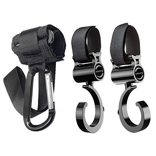 ベビーカーフック 荷物フック 装着簡単 360度回転 落下防止 滑り止めベルト付き カラビナ マルチフック 2つタイプのフックあり 自転車などと相性抜群 3個セット