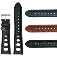 DASSARI 22mm Vintage 70's Heuer Style Leather Rally Strap Quick Release Watch Band in Black