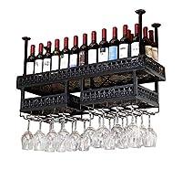 天井ワインラック、金属製のぶら下げワインボトルラック、レトロなゴブレットラック、キッチンオフィスバー、高さ調整30-60 CM、黒 (色 : 100cm)
