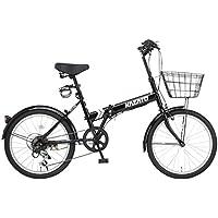 【カゴ・フロントライト・ワイヤー錠SET】KAZATO(カザト)FKZ-206 折り畳み自転車 折りたたみ 折りたたみ自転車 20インチ シマノ製6段変速 前後フェンダー