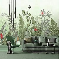 Ansyny 熱帯植物花蝶壁画壁紙ロールスロイス寝室の壁アートデカール3d写真壁紙壁画HD手絵画-130X100CM