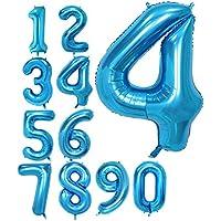 数字4 ブルー 40インチ アルミ風船 バルーン ナンバー 0-9組合自由 誕生日パーティー お祝い 飾り付け デコレーション (ブルー4, 40)