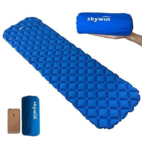 SKYWINキャンプマット超軽量エアーマット寝袋パッド TPU&40Dナイロン 防水フローティング コンパクト190X60cm