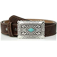 Ariat womens A1526802 Scroll Embossed Silver Turquoise Buckle Belt Belt - brown