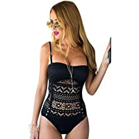 ACKKIA Women's Sexy Lace Crochet One Piece Swimsuit Swimwear Bathing Suit