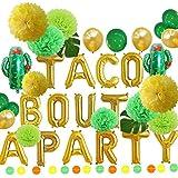 緑と金のタコスがパーティーのホイルサボテンバルーンとティッシュポンポンフラワーセット フィエスタパーティーテーマ ベビーシャワー 妊娠のお知らせ メキシコのフィエスタテーマの備品