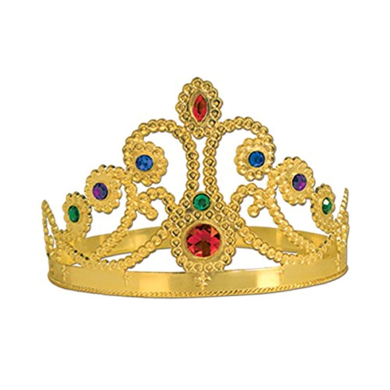 クラブパック12のプラスチックJeweled Gold Queen 'sティアラ調節可能パーティー帽子