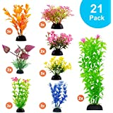 CousDUoBe Aquarium Decorations 21 Pack Lifelike Plastic Decor Fish Tank Plants,Used for Household and Office Aquarium Simulation Plastic Hydroponic Plants