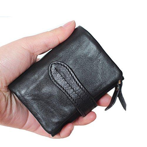 ONSTRO ミニ 三つ折り 財布 メンズ レディース ウォレット 小銭入れは取り外し可能 カード入れ コンパクト 柔らかい ブラック