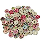 Bullidea 100x Wooden Buttons for Sewing and Crafting Craft Button with Random Color