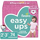 Pampers Easy Ups Pull On Disposable Potty Training Underwear for Girls, Size 4 (2T-3T), 74 Count