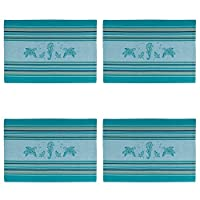 Coastal Sea Life Turtles SeahorsesキッチンPlacemats Set of 4ティールブルー