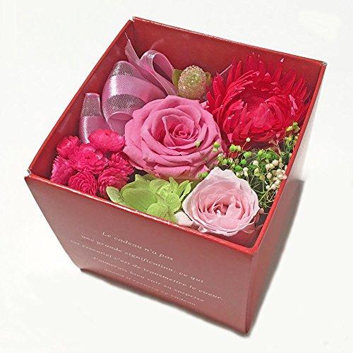 Florentia プリザーブドフラワー・ローズキューブBOX(ピンク)