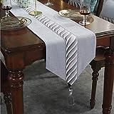 ストライプテーブルランナー/ファッションホーム/テレビのキャビネットカバー布/女性ドレッシングテーブルクロス/結婚式の宴会の装飾/屋外のピクニック布 g (Color : Grey B-, Size : 32×160cm)
