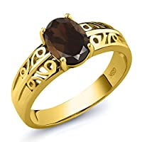 Gem Stone King 1.2カラット 天然 スモーキークォーツ (ブラウン) シルバー925 イエローゴールドコーティング 指輪 リング