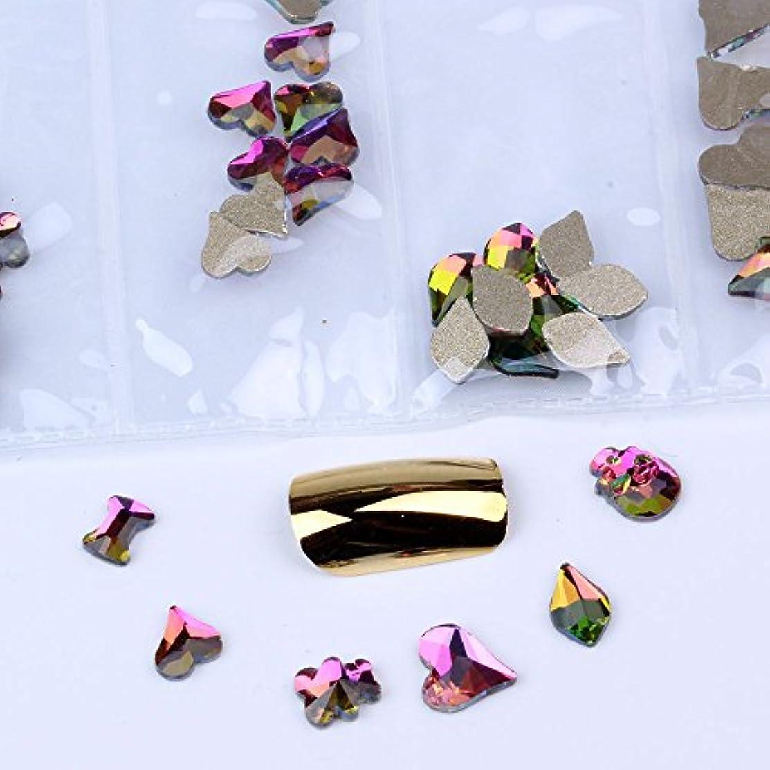 重なる乏しい展開する混在6形60pcs / bagガラスネイルアートラインストーンフラットバックネイルステッカーDIYクラフトアート3Dジュエリー衣類装飾宝石
