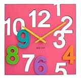 正方形 3D 立体 壁掛け時計 四角 デザイン ウォール クロック (ピンク)